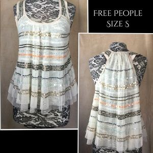 Free People sleeveless sequin tank Sz S
